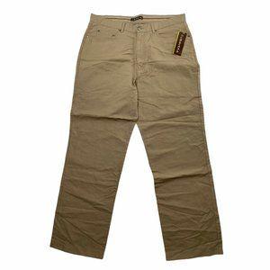 Cubavera Pants Mens 34/32 Tan Linen Cotton Blend Easy Care Straight Leg Casual